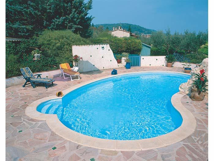 бассейн с закруглением и ступенями для дома